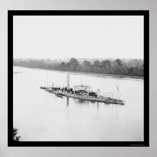 USS Monitor Casco on the James River, VA 1864 Poster