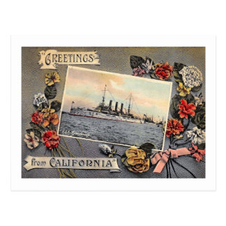 USS New Jersey, Greetings from California Vintage Postcard