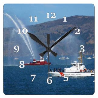 USS Phoenix and Coast Guard Cutter Sherman Square Wall Clock