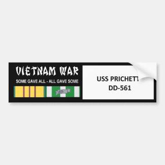 USS PRICHETT VIETNAM WAR VETERAN BUMPER STICKER