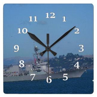 USS Spruance Square Wall Clock
