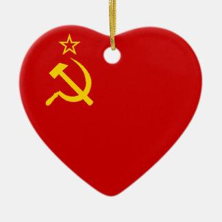 USSR Flag Heart Ceramic Ornament
