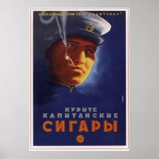 USSR Soviet Captain Cigars Advertising 1939 Poster