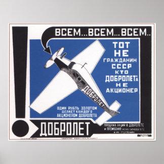 USSR Soviet Union Dobrolet Advertising 1923 Poster