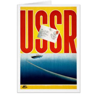 USSR Vintage Cruise Travel Poster Restored Card