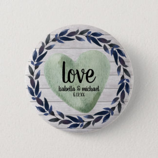 ustic Green Watercolor Heart Personalized Wedding 2 Inch Round Button