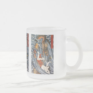 Utagawa country 芳, 'ball taking' frosted glass coffee mug