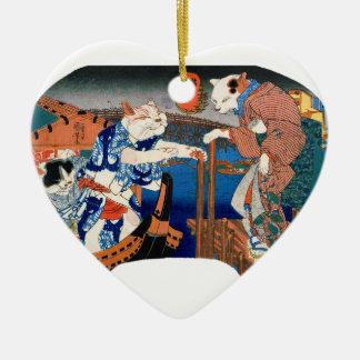 Utagawa country 芳 'enjoying the cool air of cat' ceramic heart ornament