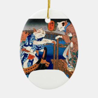 Utagawa country 芳 'enjoying the cool air of cat' ceramic oval ornament