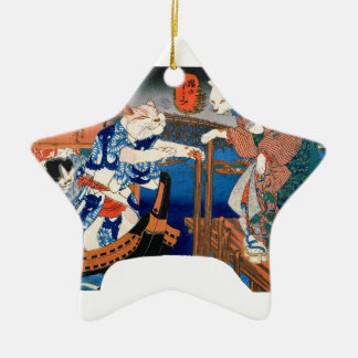 Utagawa country 芳 'enjoying the cool air of cat' ceramic star ornament