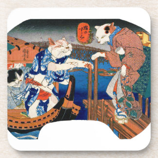 Utagawa country 芳 'enjoying the cool air of cat' coaster