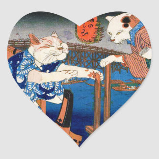 Utagawa country 芳 'enjoying the cool air of cat' heart sticker