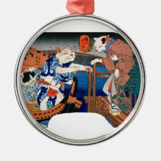 Utagawa country 芳 'enjoying the cool air of cat' metal ornament