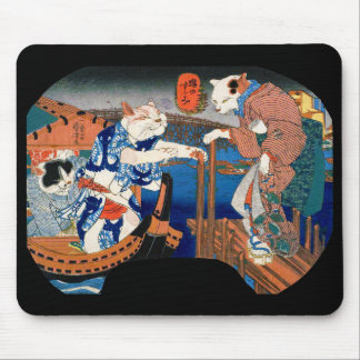 Utagawa country 芳 'enjoying the cool air of cat' mouse pad