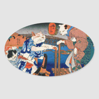 Utagawa country 芳 'enjoying the cool air of cat' oval sticker