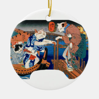 Utagawa country 芳 'enjoying the cool air of cat' round ceramic ornament