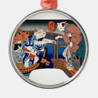 Utagawa country 芳 'enjoying the cool air of cat' Silver-Colored round ornament