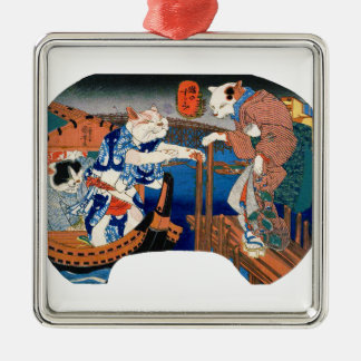 Utagawa country 芳 'enjoying the cool air of cat' Silver-Colored square ornament