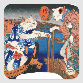Utagawa country 芳 'enjoying the cool air of cat' square sticker