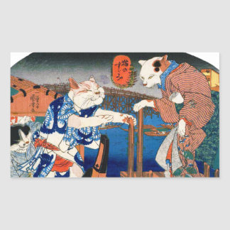 Utagawa country 芳 'enjoying the cool air of cat' sticker