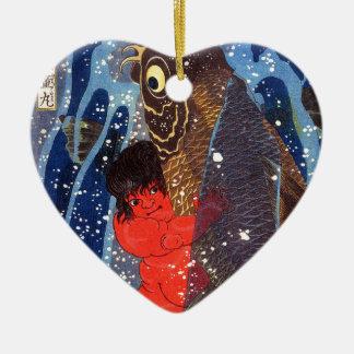 Utagawa country 芳 'Sakata robust child circle', Ceramic Heart Ornament
