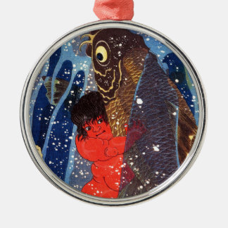 Utagawa country 芳 'Sakata robust child circle', Metal Ornament