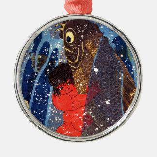 Utagawa country 芳 'Sakata robust child circle', Silver-Colored Round Ornament