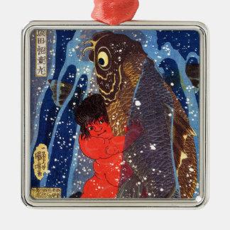 Utagawa country 芳 'Sakata robust child circle', Silver-Colored Square Ornament