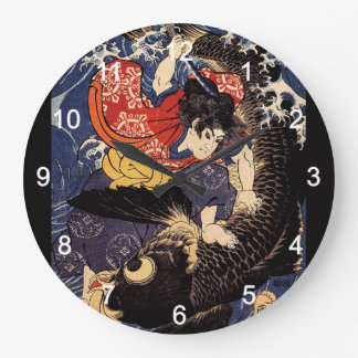 """Utagawa country 芳"" ""the ogre it is young the wall Large Clock"