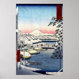 Utagawa Hiroshige Riverbank at Sukiya in Edo Poster