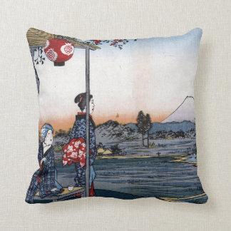 Utagawa Hiroshige The Teahouse with View Mt. Fuji Throw Pillow