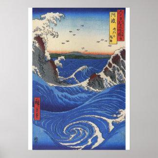Utagawa Hiroshige, Wild Sea Breaking on the Rocks Poster