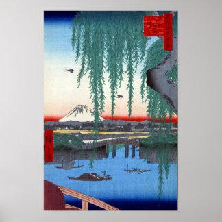 Utagawa Hiroshige Yatsumi Bridge Poster