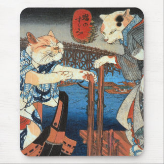 Utagawa Kuniyoshi and cats enjoying COOL air Mouse Pad