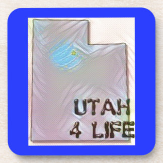 """Utah 4 Life"" State Map Pride Design Coaster"