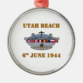 Utah Beach 6th June 1944 Silver-Colored Round Ornament