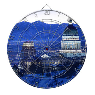 Utah Capitol And Oquirrh Mountains Winter Sunset Dartboards
