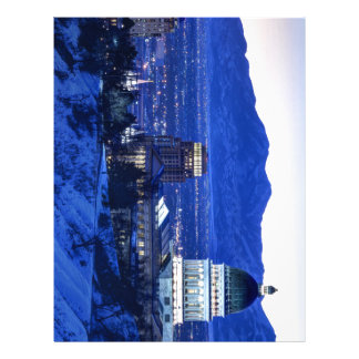 Utah Capitol And Oquirrh Mountains Winter Sunset Letterhead Template