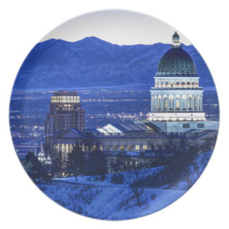 Utah Capitol And Oquirrh Mountains Winter Sunset Plate