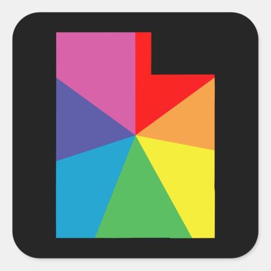 utah colour burst square sticker