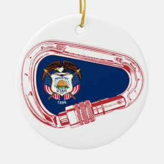 Utah Flag Climbing Carabiner Ceramic Ornament