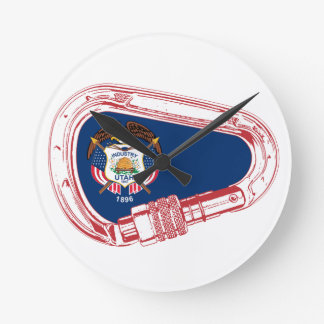 Utah Flag Climbing Carabiner Wall Clocks
