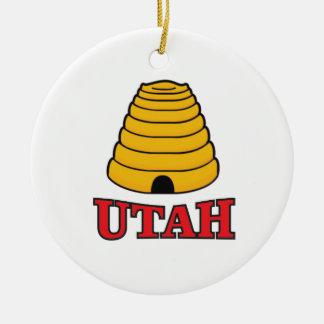 utah hive ceramic ornament