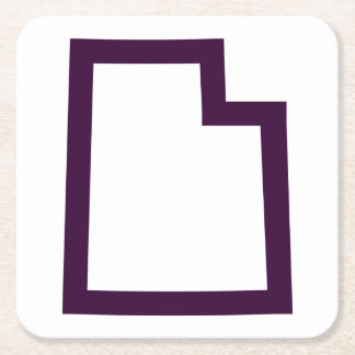 Utah (Purple) Square Paper Coaster
