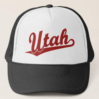 Utah script logo in red trucker hat