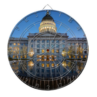 Utah State Capitol In Reflecting Fountain At Dusk Dartboard With Darts