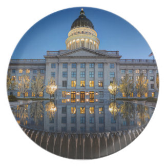 Utah State Capitol In Reflecting Fountain At Dusk Party Plate