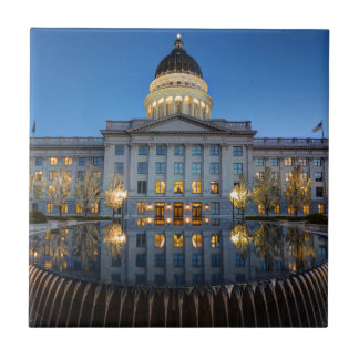 Utah State Capitol In Reflecting Fountain At Dusk Tiles