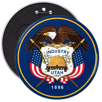 Utah State Flag 6 Inch Round Button