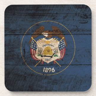 Utah State Flag on Old Wood Grain Coaster